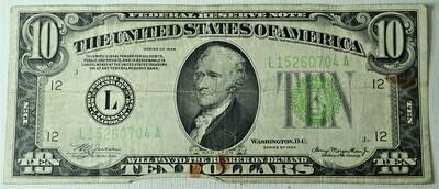 1934 A $10.00 FEDERAL RESERVE NOTE L15260704A