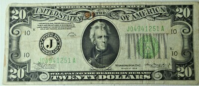 1934 $20.00 FEDERAL RESERVE NOTE J04941251A