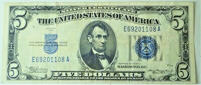 1934 A $5.00 SILVER CERTIFICATE E69201108A
