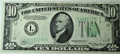 1934 A $10.00 FEDERAL RESERVE NOTE L44587181A