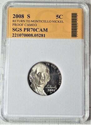 2008 S JEFFERSON NICKEL RETURN TO MONTICELLO (PROOF CAMEO) SGS 05281
