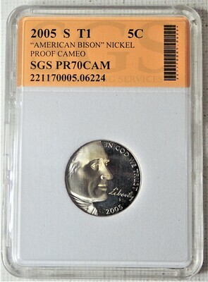 2005 S JEFFERSON NICKEL TYPE 1 AMERICAN BISON (PROOF CAMEO) SGS 06224