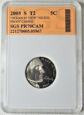2005 S JEFFERSON NICKEL TYPE 2 OCEAN VIEW (PROOF CAMEO) SGS 05967