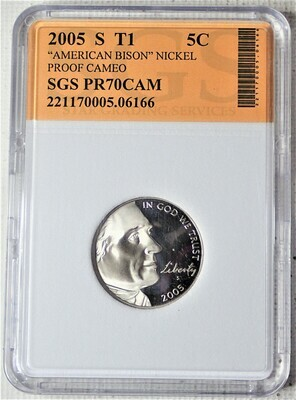 2005 S JEFFERSON NICKEL TYPE 1 AMERICAN BISON (PROOF CAMEO) SGS 06166