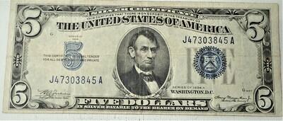 1934 A $5.00 SILVER CERTIFICATE J47303845A