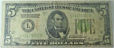 1928 B $5 FEDERAL RESERVE NOTE L41171505A