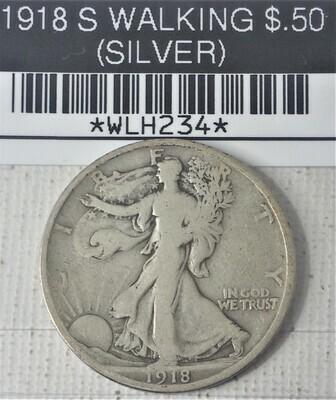 1918 S WALKING LIB $.50 (SILVER) WLH234
