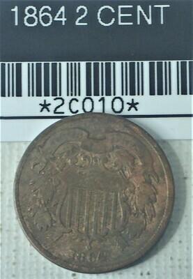 1864 2 CENT 2C010