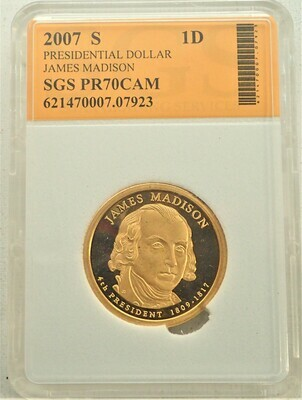 2007 S $1 DOLLAR JAMES MADISON PROOF CAMEO SGS 621470007 07923