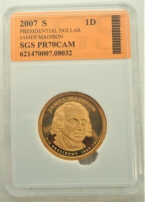 2007 S $1 DOLLAR JAMES MADISON PROOF CAMEO SGS 621470007 08032