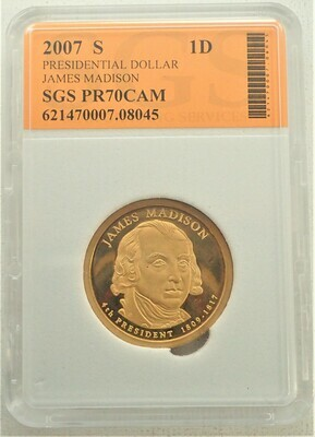 2007 S $1 DOLLAR JAMES MADISON PROOF CAMEO SGS 621470007 08045