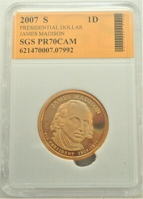 2007 S $1 DOLLAR JAMES MADISON PROOF CAMEO SGS 621470007 07992