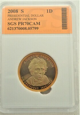 2008 S $1 DOLLAR ANDREW JACKSON PROOF CAMEO SGS 621370008 05799