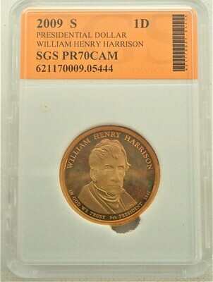 2009 S $1 DOLLAR WILLIAM HENRY  HARRISON PROOF CAMEO SGS 621170009 05444