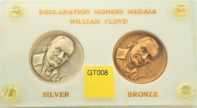 WILLIAM FLOYD DECLARATION SIGNER SILVER AND BRONZE MEDALS GT008