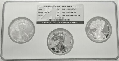 2006 W, P, W, 20TH ANNIVERSARY SILVER EAGLE SET INCLUDES  2006 W BUSINESS STRIKE, 2006 P REVERSE PROOF AND 2006 W ULTRS PROOF NGC 1564689 022 024