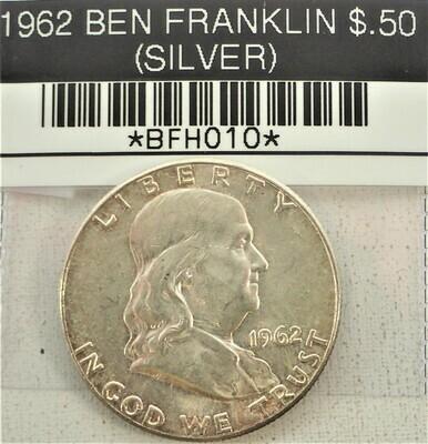 1962 BEN FRANKLIN $.50 (SILVER) BFH010