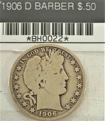 1906 D BARBER $.50 BH0022