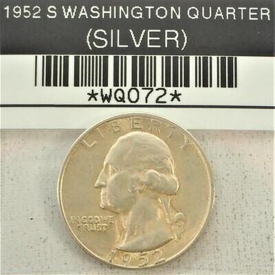 1952 S WASHINGTON QUARTER (SILVER) WQ072