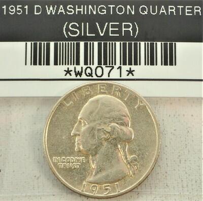 1951 D WASHINGTON QUARTER (SILVER) WQ071