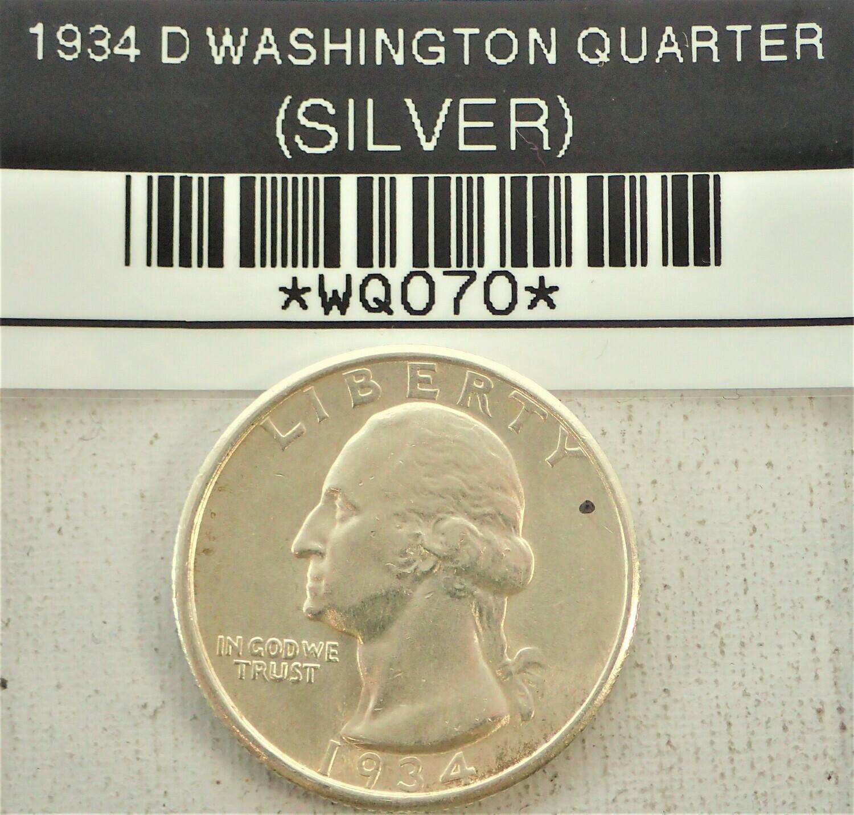 1934 D WASHINGTON QUARTER (SILVER) WQ070