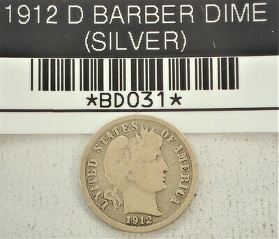 1912 D BARBER DIME (SILVER) BD031