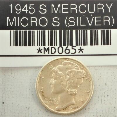 1945 S MERCURY DIME MICRO S  (SILVER) MD065