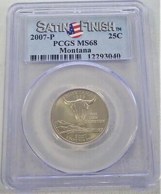 2007 P WASHINGTON QUARTER (MONTANA)  (SATIN FINISHED) PCGS MS68 12293040