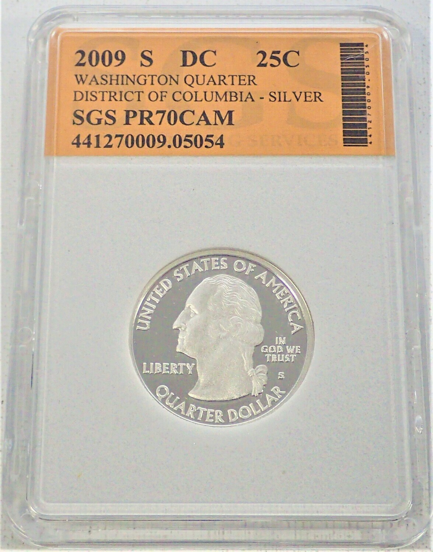 2009 S WASHINGTON QUARTER (DISTRICT OF COLUMBIA) (SILVER) SGS PR70 CAM 441270009 05054