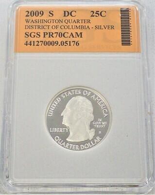 2009 S WASHINGTON QUARTER (DISTRICT OF COLUMBIA) (SILVER) SGS PR70 CAM 441270009 05176