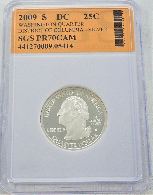 2009 S WASHINGTON QUARTER (DISTRICT OF COLUMBIA) (SILVER) SGS PR70 CAM 441270009 05414