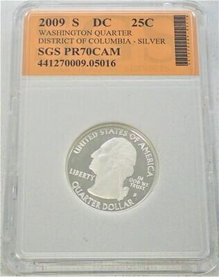 2009 S WASHINGTON QUARTER (DISTRICT OF COLUMBIA) (SILVER) SGS PR70 CAM 441270009 05016