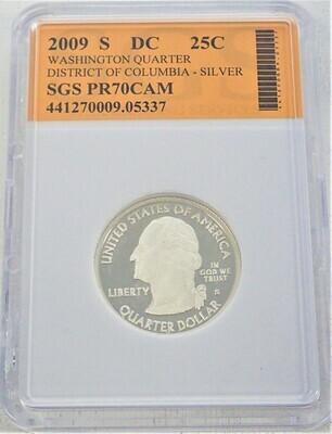 2009 S WASHINGTON QUARTER (DISTRICT OF COLUMBIA) (SILVER) SGS PR70 CAM 441270009 05337