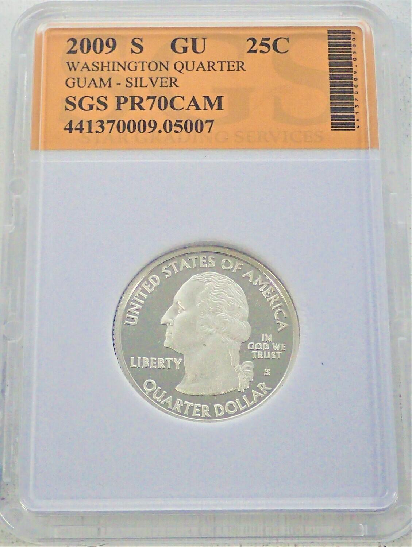 2009 S WASHINGTON QUARTER (GUAM) (SILVER) SGS PR70 CAM 441370009 05007