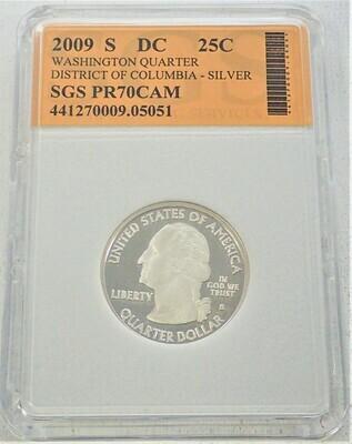 2009 S WASHINGTON QUARTER (DISTRICT OF COLUMBIA) (SILVER) SGS PR70 CAM 441270009 05051