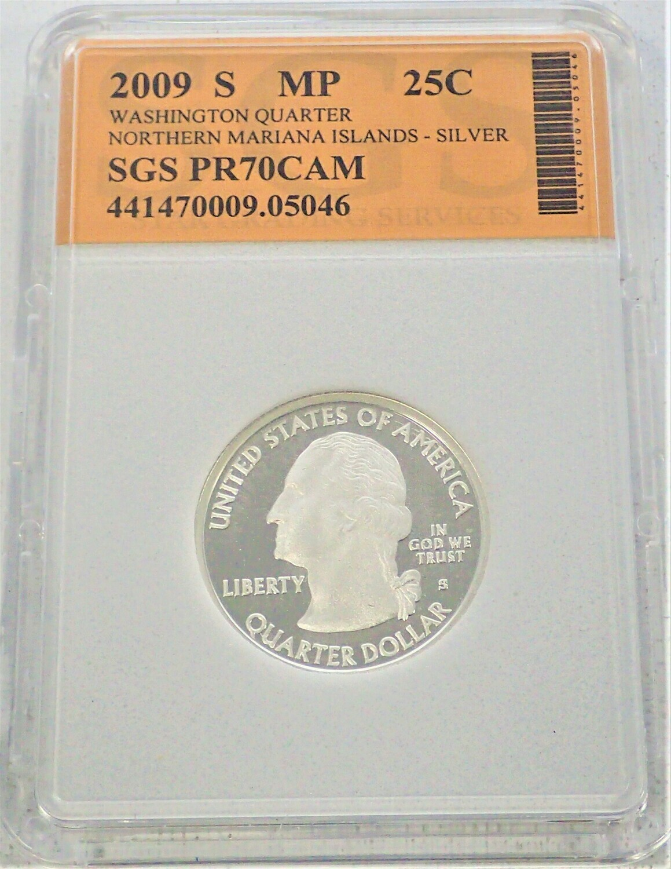 2009 S WASHINGTON QUARTER (NORTHERN MARIANA ISLAND) (SILVER) SGS PR70 CAM 441470009 05046