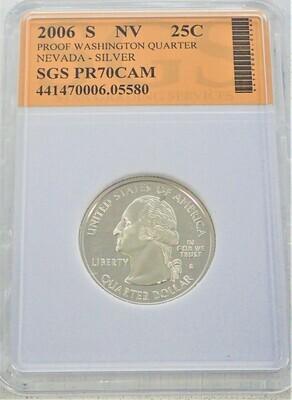 2006 S WASHINGTON QUARTER (NEVADA) (SILVER) SGS PR70 CAM 441470006 05580