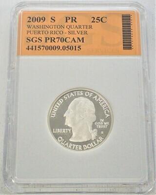 2009 S WASHINGTON QUARTER (PUERTO RICO)  SILVER) SGS PR70 CAM 421570009 05015