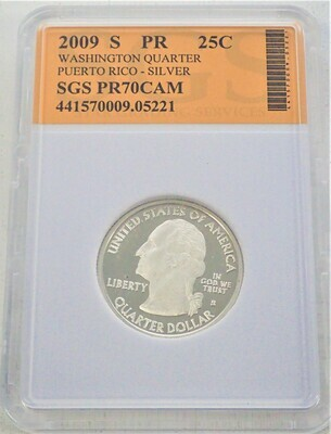 2009 S WASHINGTON QUARTER (PUERTO RICO)  SILVER) SGS PR70 CAM 421570009 05221
