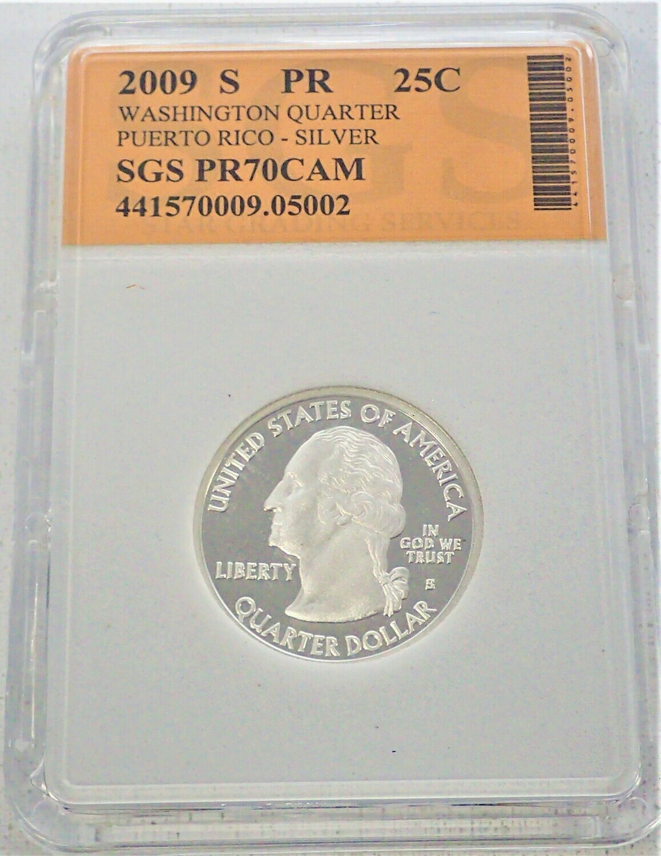2009 S WASHINGTON QUARTER (PUERTO RICO)  SILVER) SGS PR70 CAM 421570009 05002