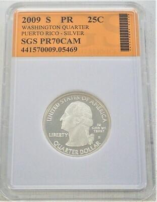 2009 S WASHINGTON QUARTER (PUERTO RICO)  SILVER) SGS PR70 CAM 421570009 05469