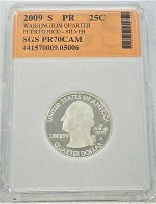2009 S WASHINGTON QUARTER (PUERTO RICO)  SILVER) SGS PR70 CAM 421570009 05006