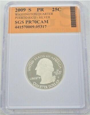 2009 S WASHINGTON QUARTER (PUERTO RICO)  SILVER) SGS PR70 CAM 421570009 05317