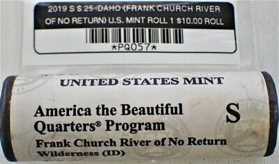 2019 S$.25 IDAHO (FRANK CHURCH RIVER OF NO RETURN) ($10.00 mint roll