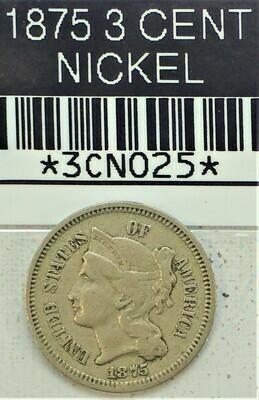 1875 3 CENT NICKEL 3CN025