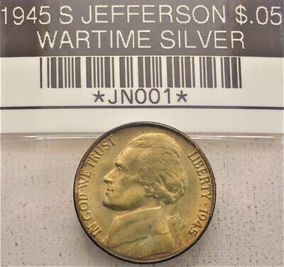 1945 S $.05 JEFFERSON  WARTIME SILVER JN001