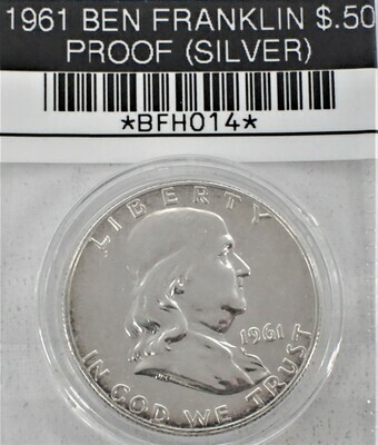1961 $.50 BEN FRANKLIN PROOF (90% SILVER) BFH014