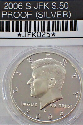 2006 S JFK $.50 PROOF (90% SILVER) JFK025