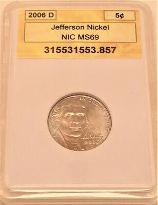 2006 D JEFFERSON NICKEL  NIC 51352541523 857
