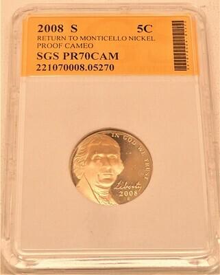 2008 S JEFFERSON NICKEL PROOF CAMEO (RETURN TO MONTICELLO) SGS  221070008 05270
